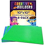 "Creative Builders - 4 Pack Green + Blue Variety Pack Base Plates | Large 10"" X 10"" 