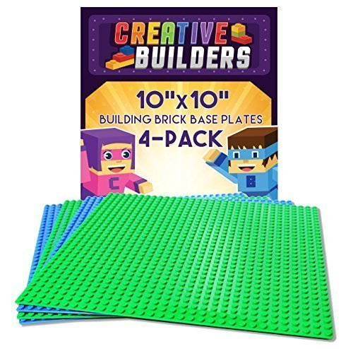 [Creative Builders - 4 Pack Green + Blue Variety Pack Base Plates | Large 10