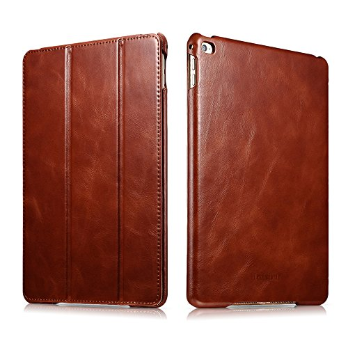 icarercase Vintage Series Leather Folio Flip Magnetic Latch Kickstand Case for Apple iPad Air 2/ iPad 6 - Brown (Top Ipad Air 2 Cases compare prices)