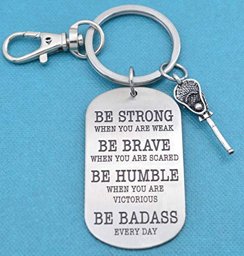 Mens or boys lacrosse dog tag keychain. Lacrosse key chain. Lacrosse Gifts. Lacrosse Mom. Be Badass Everyday.