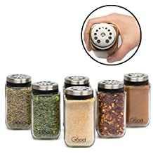 Adjustable Glass Spice Jars- Set of 6 Seasoning Shaker Rub Container Tins with 6 Pouring Sizes