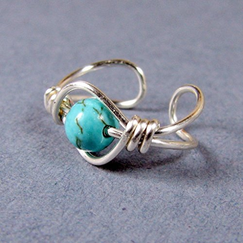 Turquoise dyed magnesite Sterling Silver Ear Cuff 4mm bead