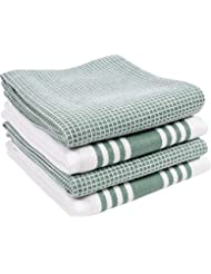 KAF Home Set of 4 Centerband and Waffle Flat Kitchen Towels | Set of 4 18 x 28 Inch Absorbent, Durable, Soft, and Beautiful Kitchen Towels | Perfect for Kitchen Messes and Drying Dishes (Sage)