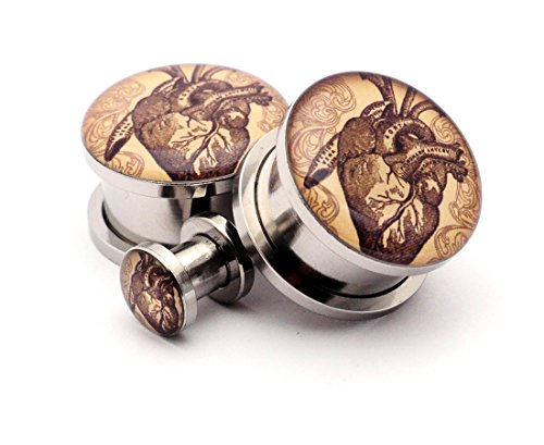 tage Heart Picture Plugs - Sold As a Pair (8g (3mm)) (8g Plugs)