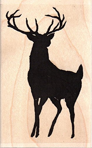 Buck Deer Silhouette Wood Mounted Rubber Stamp (D13467)