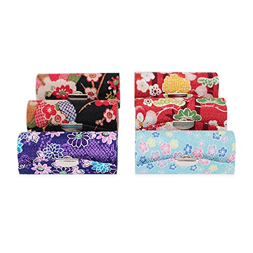 Set of 6~Cute Japanese Flower Style Lipstick Case Holder w Mirror Gift -