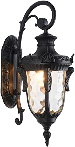 LONEDRUID Outdoor Wall Light Fixtures Black 20.47 H Exterior Wall Lantern Waterproof Sconce Porch Lights Wall Mount with Hammered Glass Shade for House, UL Listed