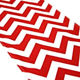 Koyal Chevron Table Runner, 12 by 108-Inch, Red by Koyal