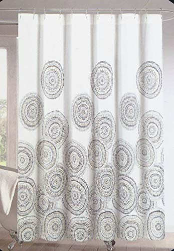 Circle Medallion - Cynthia Rowley Fabric Shower Curtain Geometric Floating Round Circle Medallion Pattern in Shades of Gray and Brown on White - Dottie Medallion