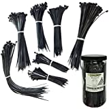 Nylon Cable Tie Kit - 1300 Pieces - Assorted Lengths 4, 6, 8, 11 - Black by Electriduct