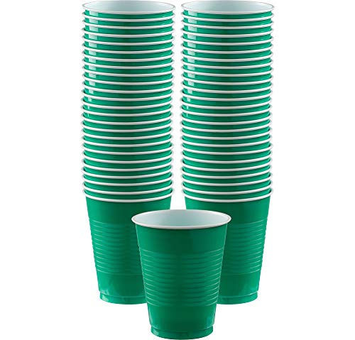 Big Party Pack Festive Green Plastic Cups | 16 oz.| Pack of 50 | Party Supply