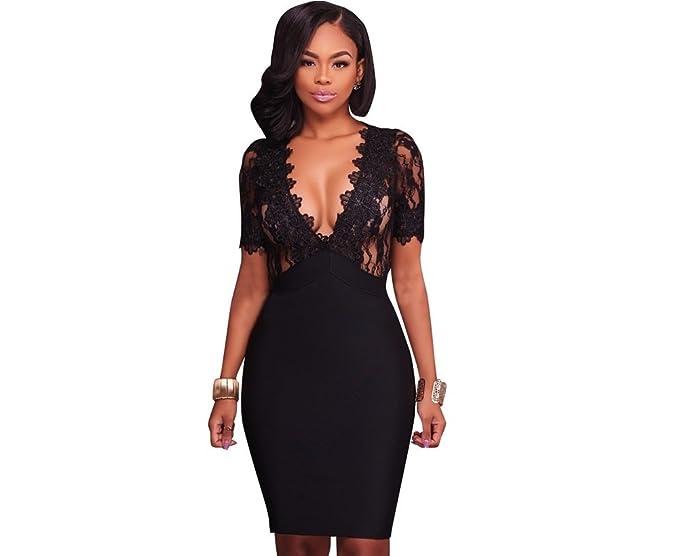 Vestidos De Fiesta De Encaje Negros Ropa De Moda 2018 Cortos Sexys para Mujer y Noche