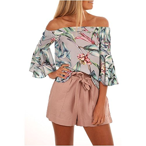 ac41574ca20 Poptem Womens Summer Off Shoulder Floral Print Blouse Short Sleeve Sexy  Tops Casual Ruffle Shirt