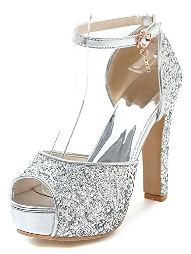 (Aisun Women's Platform Sandals with Ankle Strap - Peep Toe Buckled High Heel - Chunky Glitter Sequins (Silver, 7 B(M))