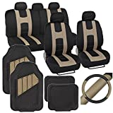 PolyCloth Sport Seat Covers Rubber Floor Mats & Steering Wheel Cover for Auto Car SUV Truck - Two Tone Black & Beige