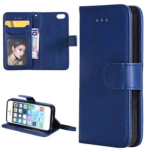 iPhone SE Case, iPhone SE Case, Pure Blue Kickstand Feature Stand Wallet Purse Credit Card Holders Design Flip Folio PU Leather Soft TPU Inner Bumper Ultra Slim Fit Cover for iPhone SE 5 5S (Iphone 5 Best Features)
