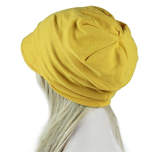 (Women's Turban Chemo Hats Hexagon Head Cap Solid Color Warm Windproof Cap (Yellow a))