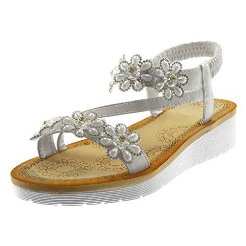 Plataforma Zapatillas Flores Tanga Moda Strass Blanco 5 on Tobillo De Correa Slip Angkorly Cm Mujer 3 Sandalias 8CvxCw1d
