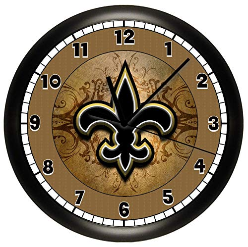Susie85Electra Saints Fleur De Lis Wood Wall Clock Modern Decorative Non Ticking for Living Room Kids Bedrooms 12 Inch -