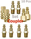 10 Pcs Brass Industrial Coupler & Plug Kit Adapter/Connector Set Quick Connect/Disconnect W-series Coupling Air Hose Fittings Compressor 1/4 NPT Male/Female Super-Deals-Shop