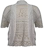 Girly Look OWASI ® Ladies Crochet Knit Plus Size Short Sleeve Open Shrug Bolero Cardigan 14-30