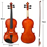 Yaheetech 4/4 Full Size Solid Wood Violin with Tuner,Strings,Bow and Case,Natural Varnish Finish