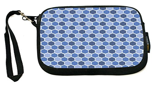 Rikki Knight Monaco Blue Teal Blue Shades Stained Glass - Neoprene Clutch Wristlet Coin Purse with Safety Closure - Ideal case for Cosmetics Case, Camera Case, Cell Phones, Passport, etc.. Monaco Clutch