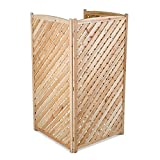 Natural Outdoor 3 Panel Wood 60'' Height Air Conditioner Screen Privacy Fence Hideaway