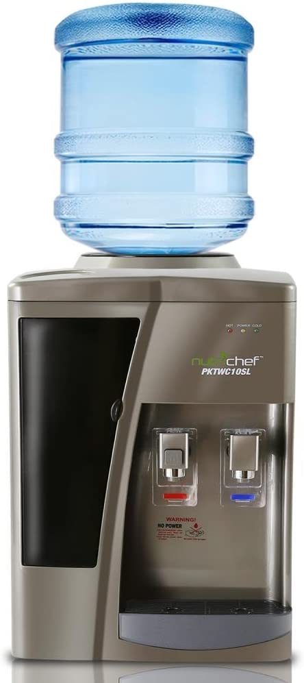 Nutrichef Countertop Water Cooler Dispenser - Hot & Cold Water, with Child Safety Lock, Black-Chrome: Kitchen & Dining