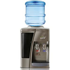 Nutrichef Countertop Water Cooler Dispenser - Hot & Cold Water, Child Safety Lock, Holds 3 or 5 Gallon Bottles, (Silver)