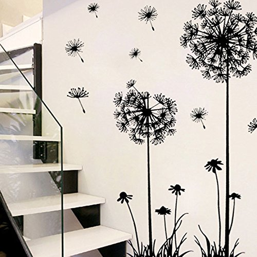 Futemo Black Dandelion Flower Wall Stickers Creative Plant Tree Wall Sticker Wallpaper Large Removable Home Decal Room Decorations ()