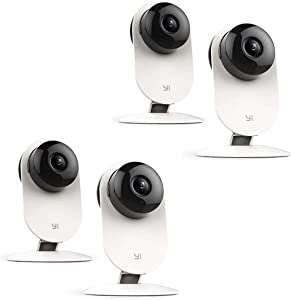 YI 4 Pack 1080p Home Camera with 2-Way Audio and 9m IR Range, 4 Pack, White