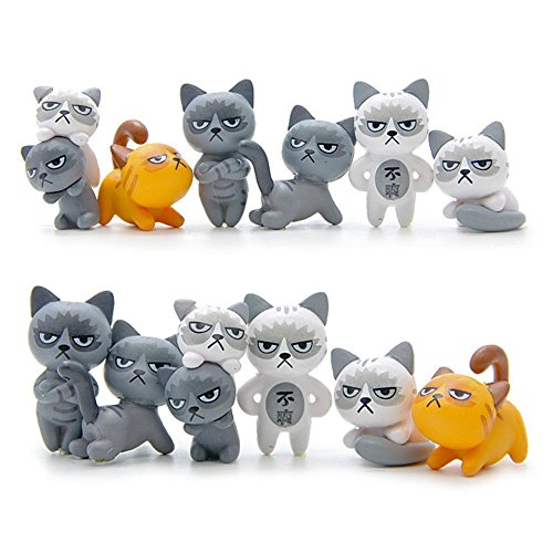 Zeroyoyo Super Cute 6pcs/set Mini Small Lovely Unhappy Cats Action Figure Toy Children Toy Angry Kitty Toy Figure (Kitty Cat Figurine)