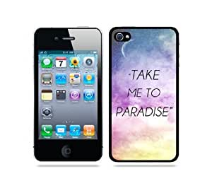 Hipster Quote - Take Me To Paradise Galaxy Sky - Protective Designer BLACK Case - Fits Apple iphone 6 4.7 G