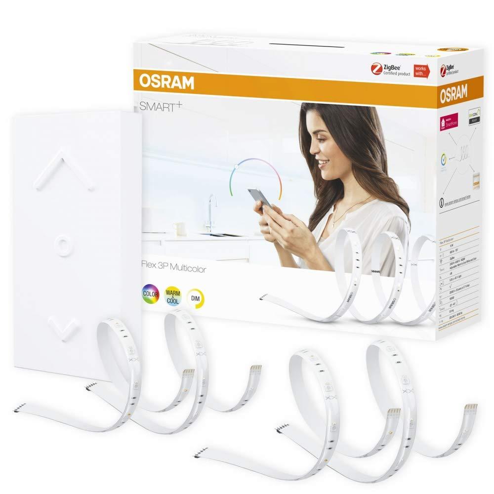 OSRAM SMART+ SWITCH KIT RGB Streifen RGBW LED Strip dimmbar + Fernbedienung weiß Maß 4,2 m (Basis + 2x Erweiterung)