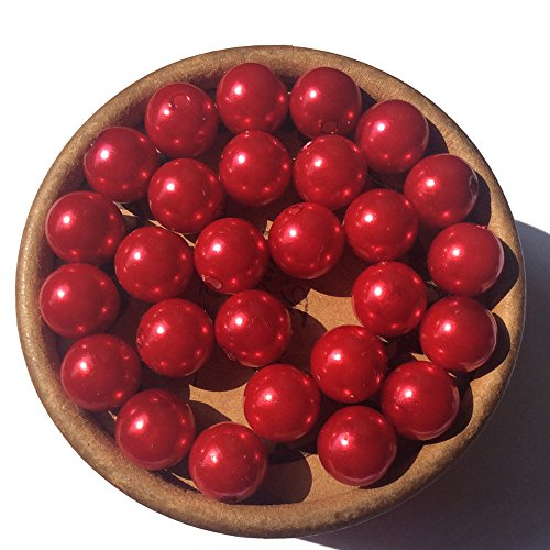 Christmas Red Chunky Bubblegum Bead 10mm 100pcs Acrylic Round ABS Imitation Pearl Spacer Beads ()