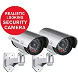 ANNKE 2 Pack Home Security Simulated Cameras with Flashing Red LED for Indoor and Outdoor use