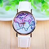 3 Colors New Arrival World Map Leather Strap Watches?(White)