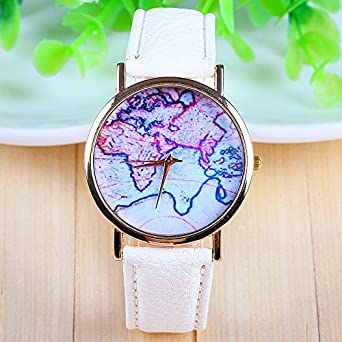 Amazon 3 colors new arrival world map leather strap watches 3 colors new arrival world map leather strap watcheswhite sciox Choice Image