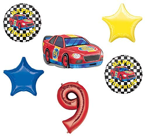 Race Car Theme 9th Birthday Party Supplies Stock Car Balloon Bouquet Decorations