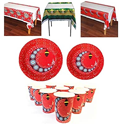 HHB Eclipse Ramadan Eid Mubarak Basic Party Kit and Supplies for 20 Guests, Includes Table Covers, Plates & Cups!: Health & Personal Care