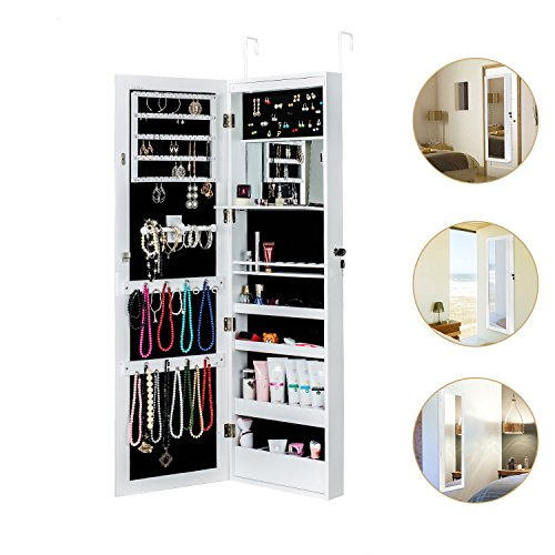 HERRON Jewelry Cabinet Armoire with Mirror Led Light Wall Door Mounted Organizer Storage,White (Jewelry Mirror Cabinet)
