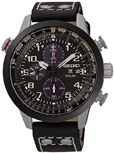 SEIKO SSC423P1,Men's Prospex Solar,Chronograph,Military Style,Stainless Steel Case,Leather Strap,100m WR,SSC423