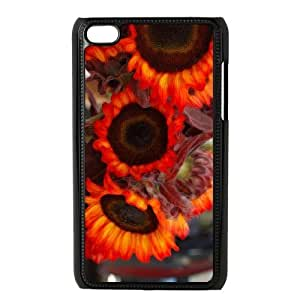 wugdiy Custom Hard Plastic Back Case Cover for iPod Touch 4 with Unique Design Fire Sunflower