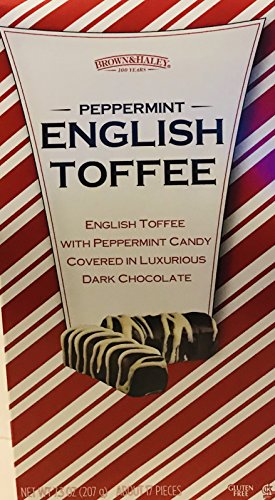 Peppermint English Toffee! Covered In Luxurious Dark Chocolate Candy! 7.3oz Box! About 17 Pieces! Gluten Free!