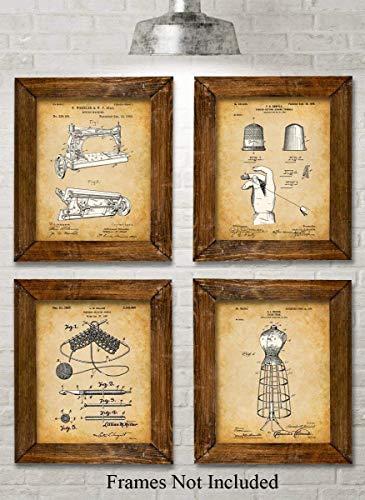 Original Sewing Patent Art Prints - Set of Four Photos
