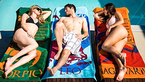 Blanket Statements Zodiac Beach Towels, Oversized Plush, Astrology Horoscope (Leo)