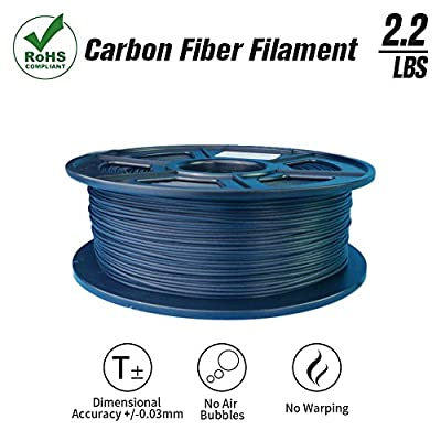 SunTop 3D Carbon Fiber PLA Filament 1.75mm, Rohs Compliance, 1 kg (2.2lbs) Spool, Dimensional Accuracy +/- 0.03 mm