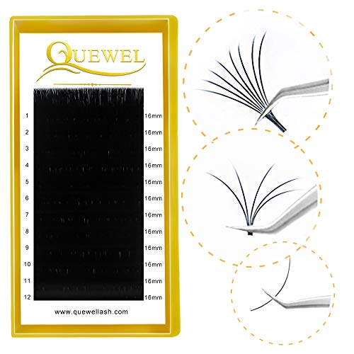 Thickness 0.05mm 0.07mm 0.10mm 0.12mm Russian Volume Premade Fans Eyelashes Extensions 2D 3D 4D 5D 6D 7D 8D 10D 20D C/D Curl Length8-18mm MIX by Quewel (0.07-D, 16mm)
