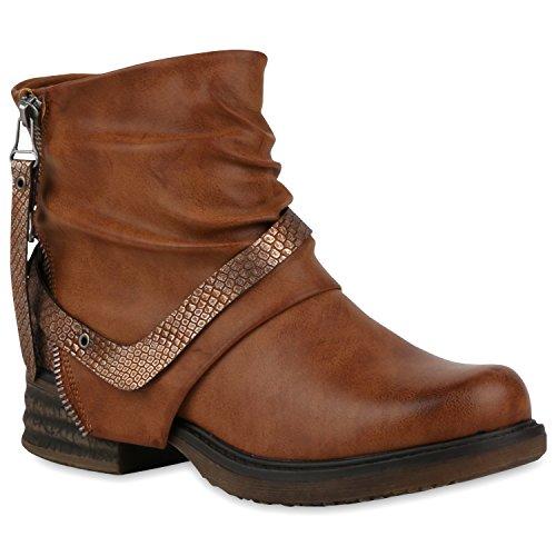 Stiefelparadies Damen Stiefeletten Zipper Biker Boots Schuhe Leder-Optik Schnallen Knöchelhohe Stiefel Damenschuhe Flandell Braun